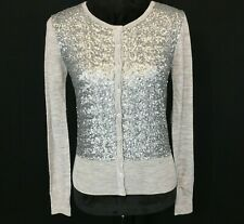 NEW Ann Taylor XS Cardigan Sweater Top Heather Gray Silver Sequin 100% Wool $128