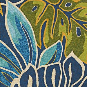 """Couristan Covington Areca Palms Azure & Forest Green In/Out Rug, 2'6""""x8'6"""" Rn"""