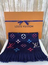 LOUIS VUITTON Logomania Echarpes Rainbow Navy Blue Wool Silk Scarf Monogram RARE