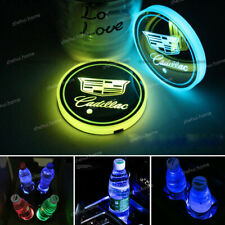 2x Fit Cadillac Car LED Light Cup Bottle Holder Pad Mat Coaster 7 Color Changing