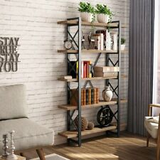 Solid Wood 5Tier Shelf Industrial Style Bookcase and Book Shelves,Unique X Frame
