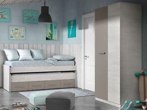 Pack muebles dormitorio infanti juvenil cama nido y armario ropero dise?o unisex