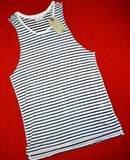 "All Saints ""Mirach Vest"" White Black Striped T-Shirt Top Size S Small"