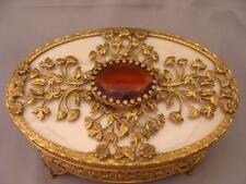 APOLLO Studios NY Filigree Jewelry Box Ormolu  Large Stone Cream Silk