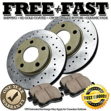 Full Kit Gold Cross-Drilled Slotted Brake Rotors Disc and Ceramic Pads Legend,RL