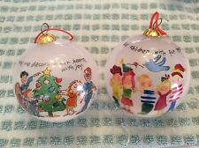 Sally Huss Christmas Lot of 2 Glass Blown ornaments from the collection.