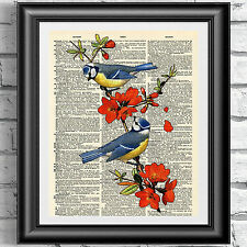Original art print on antique dictionary book page birds and Flowers wall decor.