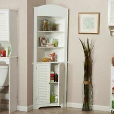 Ellsworth Freestanding Tall Corner Etagere Cabinet Storage Bathroom Wood White