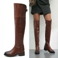 Damen Vintage Overkneestiefel Slouch-Stiefel Rund Niedriger Blockabsatz Outdoor