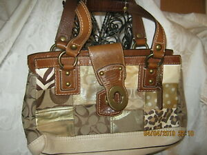 Coach Leather Large Satchel Patch Hand Bag Brown