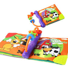 Baby Cloth Soft Book Infant Toddler Activity Toy Teether Rings Farm Animals Gift