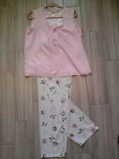 Downeast Women Solid Pink Floral Sleeveless U-Neck Polyester Pajama Set   Size L