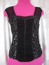Jennifer Taylor Black Metallic Lace Short Sleeve Top Blouse Sz  L Jrs (E-4
