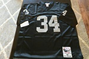 New Oakland Raiders Bo Jackson #34 Jersey Black Size Large L SEWN