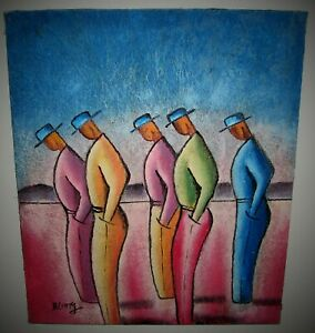 Acrylic Coconut Fiber FIVE MEN STANDING Expressionism Painting B LONG Signed
