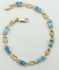 "14K Yellow Gold Blue Topaz 6x4mm Emerald Cut Figure 8 Link Bracelet 7.25"" S1593"
