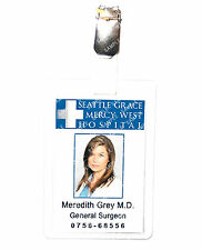 Greys Anatomy Meredith Grey ID Badge Hospital Cosplay Prop Costume Comic Con