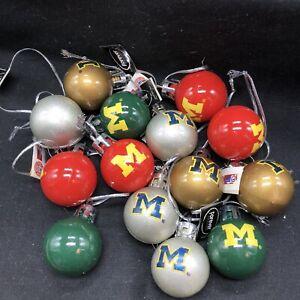 Set 14 University Of Michigan Mini Ornaments Plastic U-M Go Blue Gift Tags #hail