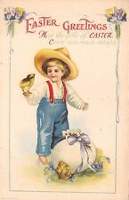 "Unsigned Clapsaddle c. 1910 ""Easter Greeting"" Young Boy, Chicks & Egg, #601"