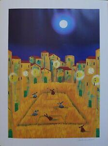 """Paolo Da Norcia serigrafia offset Estate """"luna"""" 80x60 firmata numerata"""