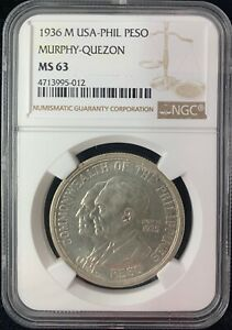 1936M Murphy Quezon US-Philippines Peso  Silver Coin NGC MS63