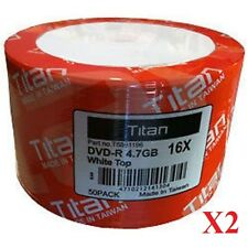 100PCS Titan 16X White Top DVD-R DVDR Blank Disc 4.7GB