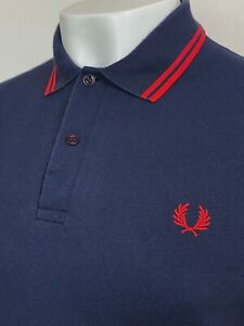 """Fred Perry   Made In England Twin Tipped M12 Pique Polo Shirt 40"""" M (Navy) Mods"""