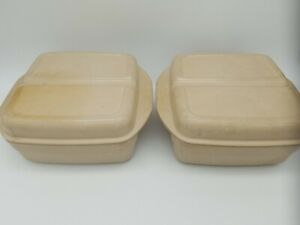 2 Anchor Hocking Microware Baking Dishes PM481-TI with Divided Lids