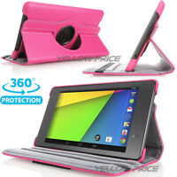 360 Rotating Leather Case Stand Cover Pink for ASUS Google New Nexus 7 FHD 2013