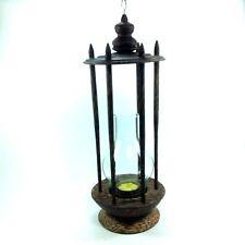 Candle lamp holder aroma hand craft vintage home garden decor souvenir palm wood