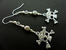 Rhinestone Dangly Skull Earrings. A Pair Cute Diamante