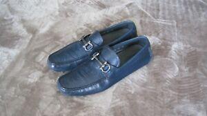Salvatore Ferragamo Parigi Ostrich Dark Blue Horsebit Loafers Size 12 E