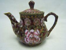 "Vintage Ornate Cloisonne Art Tea Pot Roses on Burgundy Enamel 6-1/4"" tall VGC"
