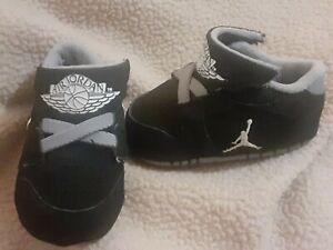 Nike Air Jordan Shoes Infant Size 1C Black Grey White