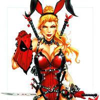 """DEADPOOL Playboy Bunny ART PRINT Jamie Tyndall SIGNED 17 x 11"""" Marvel Comics NEW"""
