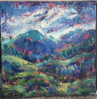 FORESTED MOUNTAINS Original Acrylic Abstract Landscape Knife Painting 20x20 NR
