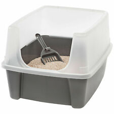 New listing Clean Pet Open-Top Cat Litter Box with Shield and Scoop Kitty Extra-tall Plastic