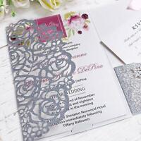 25/50PCS Personalized Laser Cut Printing Wedding Invitation Cards with Envelopes
