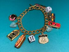 🌸 Moulin Rogue Gold Tone Route 66 Rock N Roll Dice 11 Charms Bracelet (B5) 🌸