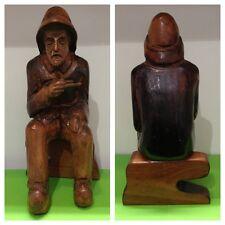 Antique Chiffre en bois déco HOMME AVEC PIPE OBJET DE COLLECTION