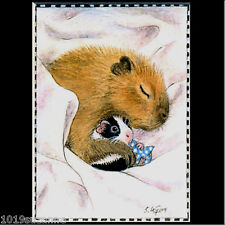 ACEO Ltd Edition Capybara & Porcellino D'India Baby Pittura Stampa Suzanne LE GOOD