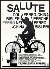 PUBBLICITA' 1963 FERROCHINA BISLERI TONICO MEDICINA SALUTE CACCIATORE BICICLETTA