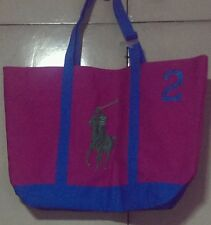 RALPH LAUREN COLORBLOCK CANVASS TOTE-LARGE,PINK