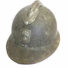 Vintage French WW2 Military Army Helmet Flaming Grenade DP