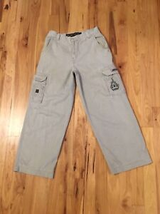Vintage JNCO Jeans Men's Cargo Khaki Flaming Crown Pants TAG 33 Fits 31W x 30L