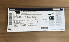 Sammler Ticket Hertha BSC Berlin - FC Bayern München 01.10.17 FCB