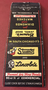 Matchbook Cover Stuart's and Lincoln's Fine Foods South Chicago