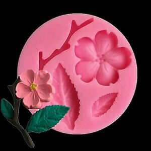 Flower Branch Leaf Silicone Mould  FOOD SAFE Polymer Clay PMC