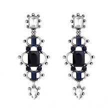 Geometric Blue Glass Sapphire Long Drop Earrings Chic Gorgeous Vintage Silver