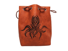 Brown Leather Lite Cthulhu Design Self-Standing Large Dice Bag